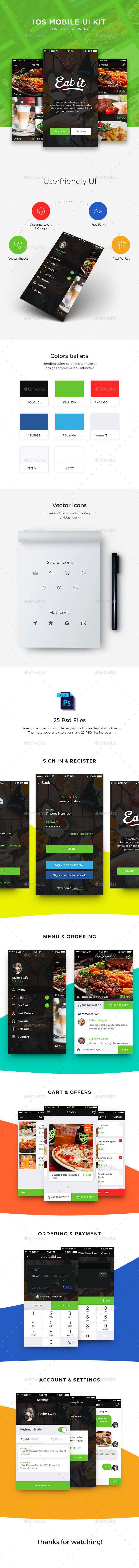 Food Delivery APP User Interface Template PSD #design #ui Download: http://graphicriver.net/item/-food-delivery-app-ui/14115577?ref=ksioks