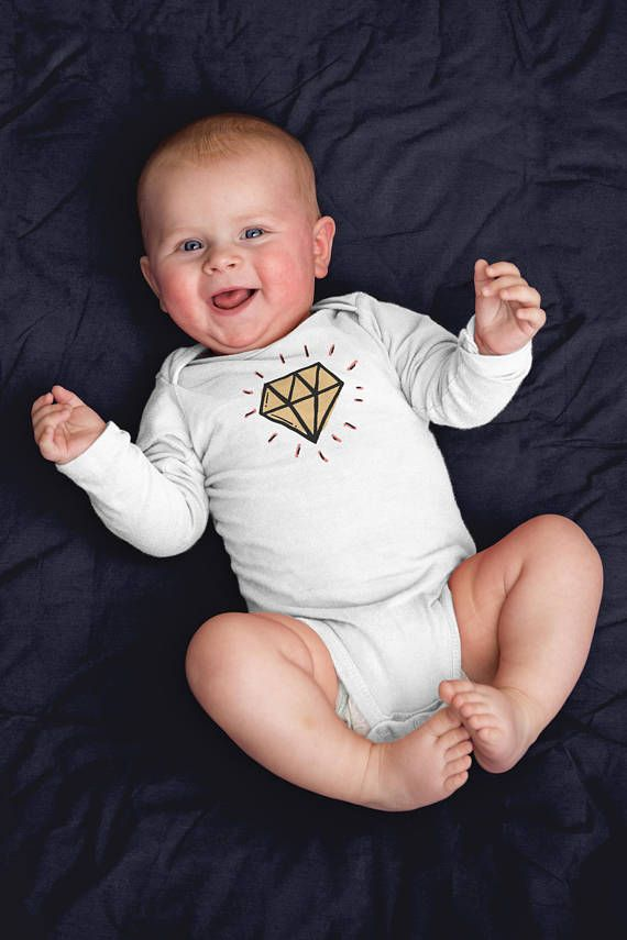 Cute Little Diamond Onesie - Funny Long Sleeve Bodysuit - First Newborn Baby Clothes - Baby Boy Girl Shirt Gift - Baby Shower Announcement. Funny baby onesies by WagaBumps that will grab the attention of family and friends, cause uncontrollable chuckling, and give your baby the last laugh. Designs printed directly on the onesie that will stretch with the fabric and won't fade, peel or crack through machine wash and tumble dry cycles. Three snaps at the bottom allow easy diaper changing
