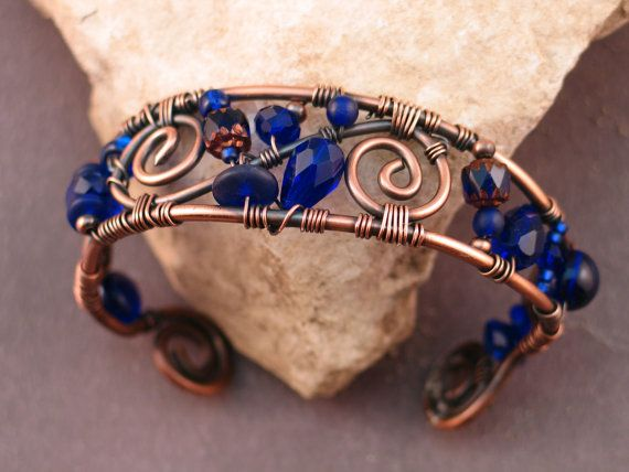 Wire Wrapped Copper and Cobalt Blue Bracelet by EvolutionaryBeauty, $60.00