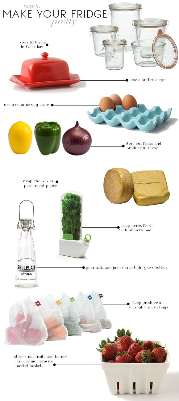 How to make your fridge pretty: by InkLemonade; now where do you find some of these ceramic holders?
