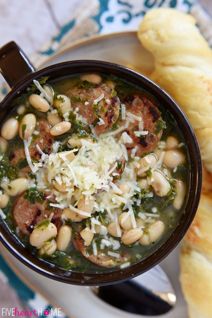 White Bean, Kale, & Sausage Soup | Recipe | Sausage Soup, White Beans ...