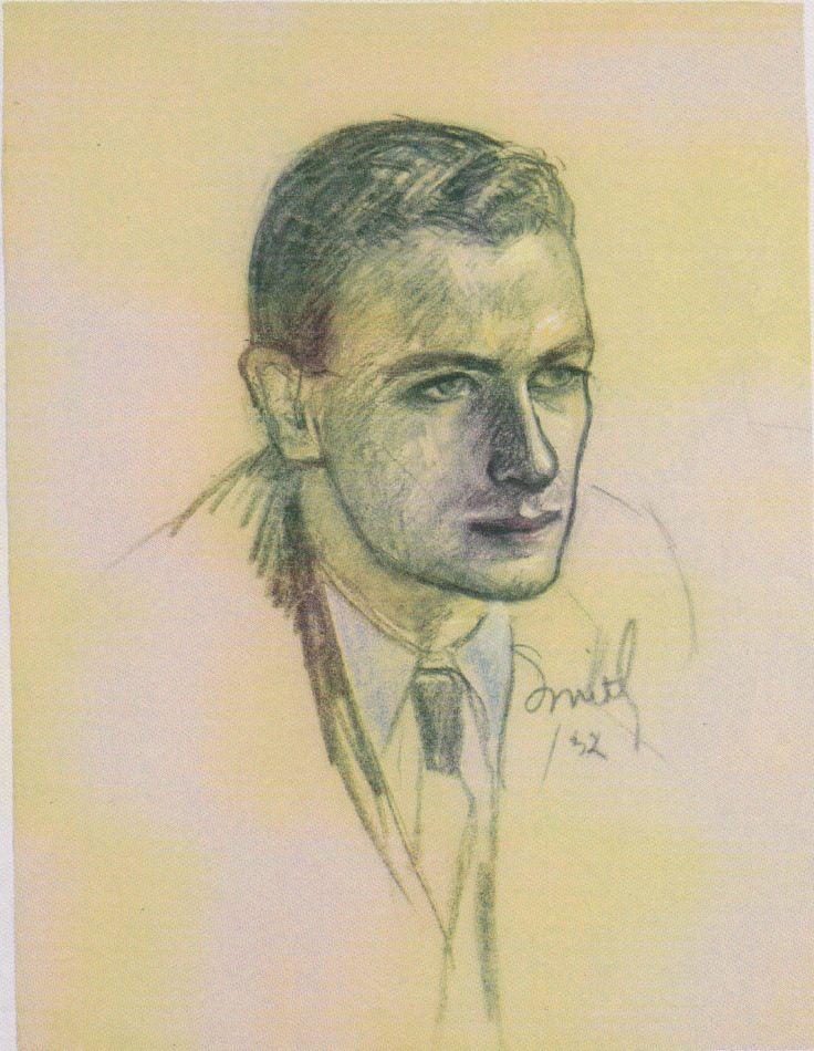 """Lemieux, Jori Smith, and Jean Palardy together briefly ran the ad agency JANSS. Smith, """"Portrait of Jean Paul Lemieux,"""" c. 1932, Musée national des beaux-arts du Québec. #ArtCanInstitute"""