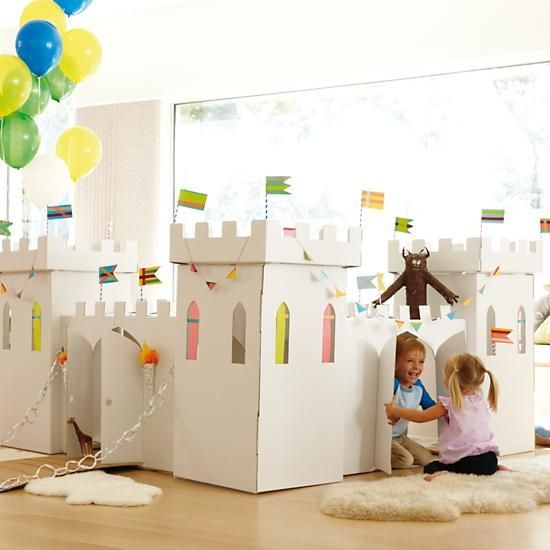 Kardboard Kingdom in All New   The Land of Nod. Hear ye, hear ye! This kastle is made entirely of kardboard and features ample space for kids to play, inkluding four funktional turrets.:
