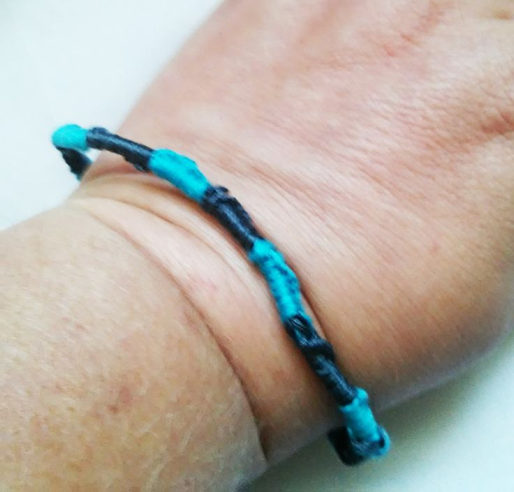 Dark and light blue Chinese staircase bracelet, gifts for her, gifts for him, stocking stuffer, ready to ship, under 5 by megsinstitches on Etsy