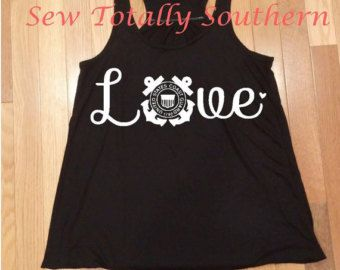 Coast Gaurd Love Tank Top with Racerback & by SewTotallySouthern
