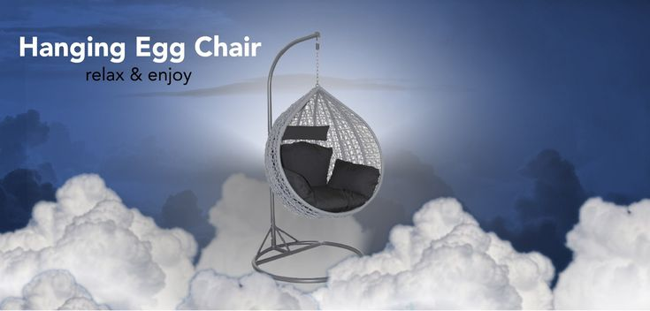 Outdoor Hanging Egg Chair with Black Cushion The Hanging Egg Chair is back in 2018, new and improved since selling out last year. The Outdoor Egg Chair provides a relaxing space for patios and balconies with maximum seat room and bigger and more comfortable cushion.Our chairs are built from using powder coated steel and UV resistant polymer PVC which makes them weather resistant, very durable and suitable for outdoor use.