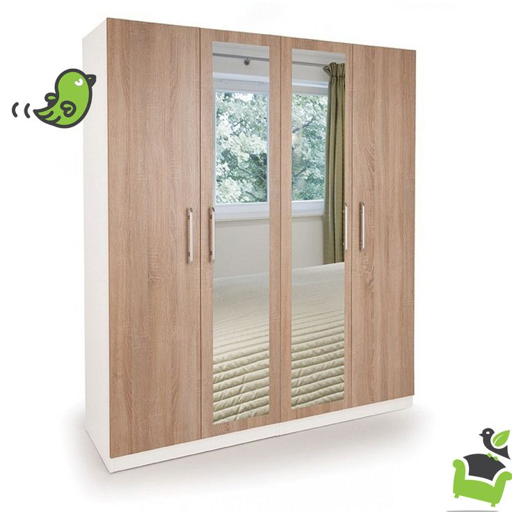 Connect Euston 4 Door Wardrobe with 2 Mirrors - Oak #Bedroom #wardrobes