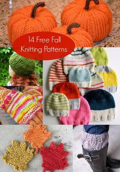 14 Fantastic Free Fall Knitting Patterns - you'll love these ideas! Use this inspiration for your autumn projects. Hats, scarves, decor, and more.