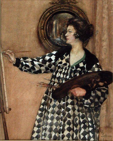Self Portrait, 1929 (w/c on paper), Zinkeisen, Anna Katrina (1901-76) / Private Collection / Bourne Gallery, Reigate, Surrey / The Bridgeman Art Library