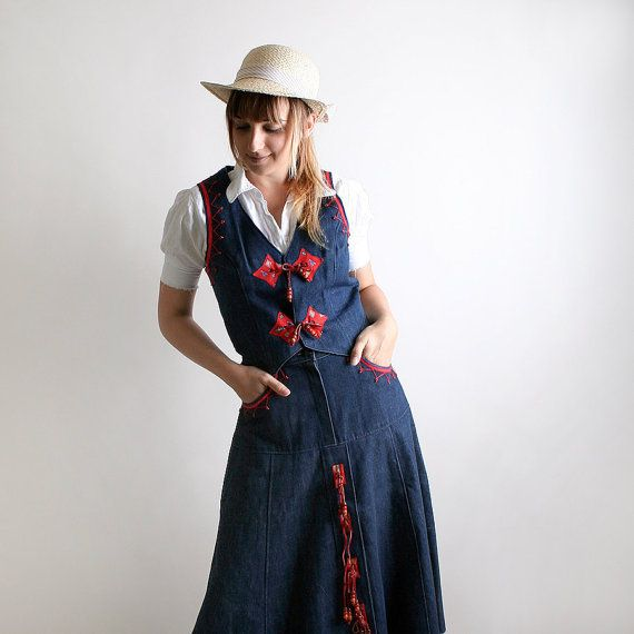 Vintage Cowgirl Kleid  Südwest Outfit  Blue Jean Rock und von zwzzy