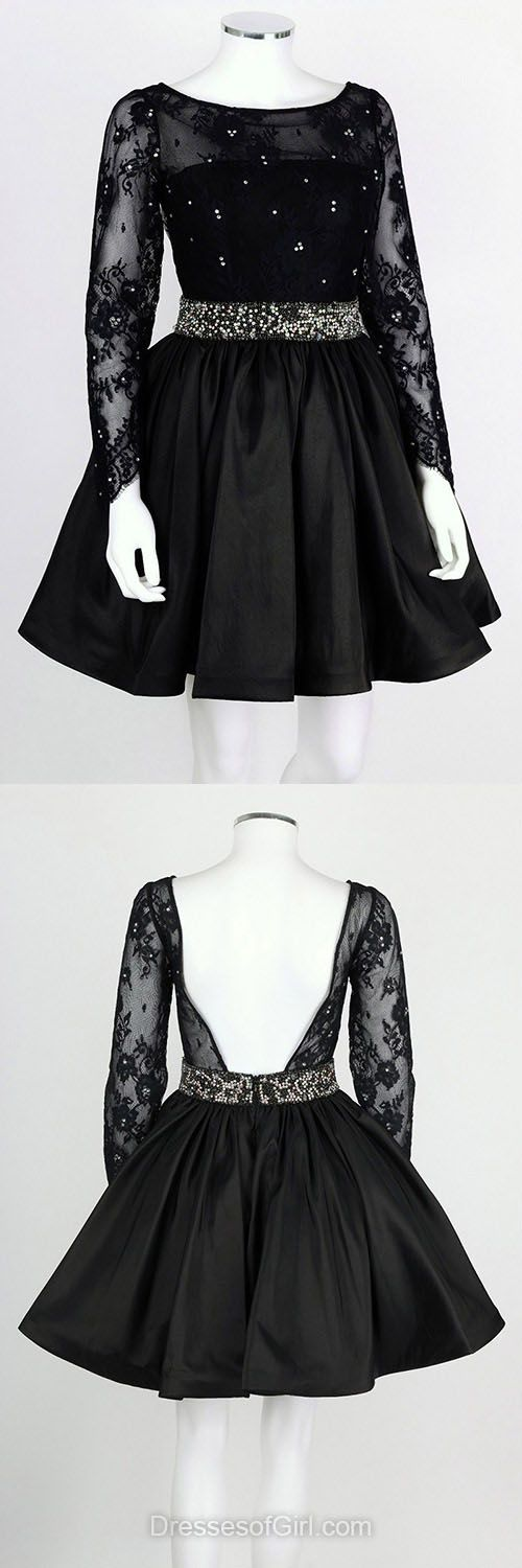 Long Sleeve Homecoming Dress, Lace Prom Dress 2018, Princess Short Prom Dresses, Black Homecoming Dress, Backless Homecoming Dresses, Simple cocktail dress, Beading sweet 16 dresses