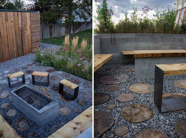 exterior fireplace concrete retaining wall bench wooden slats tables