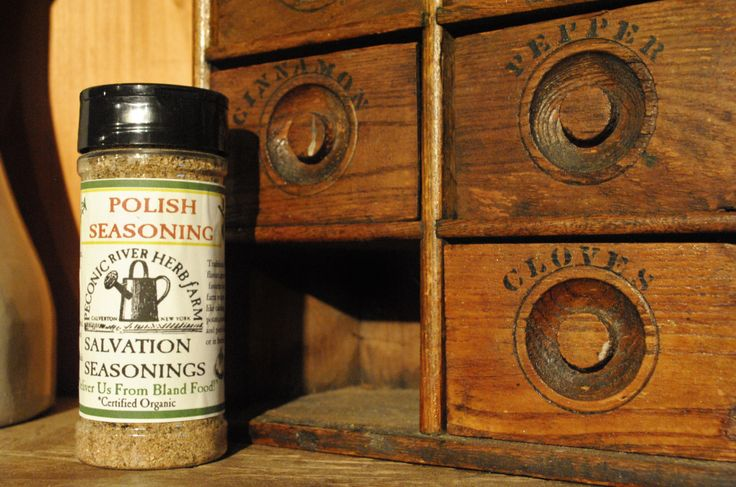 Polish Seasoning - Traditional flavors great in favorite local farm recipes like cabbage, potato, noodle, and pork dishes, or in breads. $7.95  Find it in the Outside In garden shop at the Peconic River Herb Farm! #polishseasoning #organicseasoningmix #deliverusfromblandfood #polishcooking