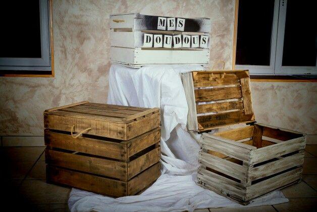 coffre et caisse avec des caisses a pomme cagette rejoignez toutes mes creations sur mon. Black Bedroom Furniture Sets. Home Design Ideas