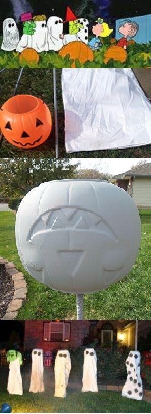 "Kid friendly outdoor halloween decor DIY - ""Great Pumpkin Charlie Brown"" characters: Plastic Jack-o-lanterns, rebar, white pillow cases, hot glue, spray paint"