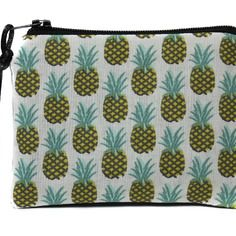 Porte monnaie ananas unisexe en tissu coton, mini pochette zippée, petit étui à barrettes