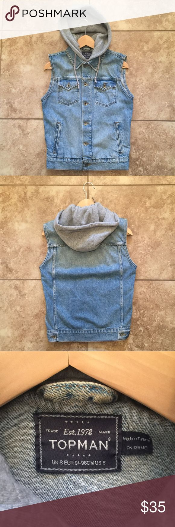 Mens Topman denim vest Mens Topman brand light wash denim vest with attached grey jersey hoodie. Vest is not lined. Size S and could fit XS Topman Jackets & Coats