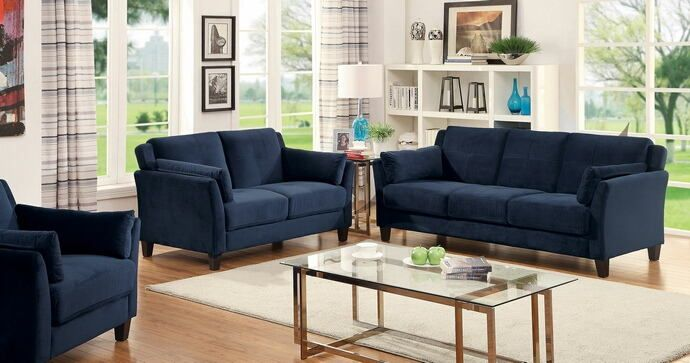 Enjoyable Cm6716Nv 2 Pc Ysabel Navy Flannelette Fabric Sofa And Love Ncnpc Chair Design For Home Ncnpcorg