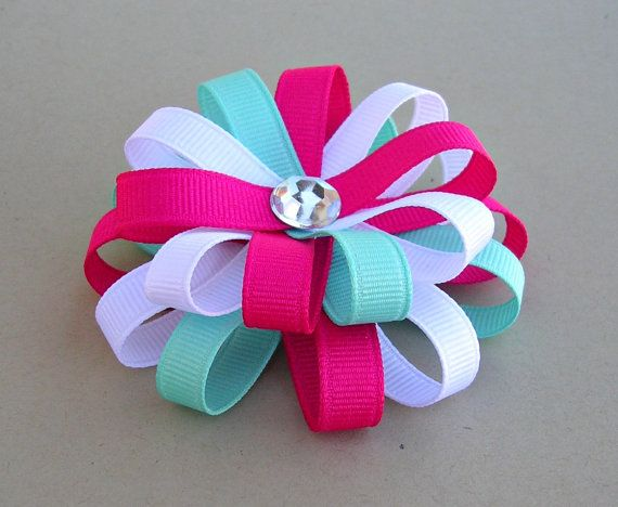"""Pink and Turquoise Hair Bow - Flower Loop Bow - 3"""" Medium Hair Bow on Etsy, $5.00"""