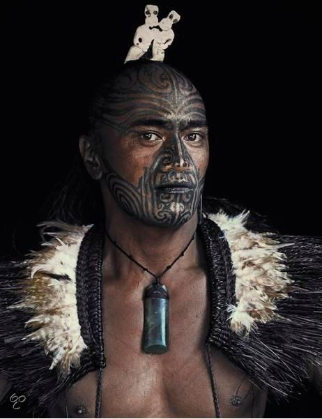 Maori with full moko - New Zealand