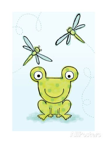 Polka Dot Green Frog with Dragonflies Print at AllPosters.com