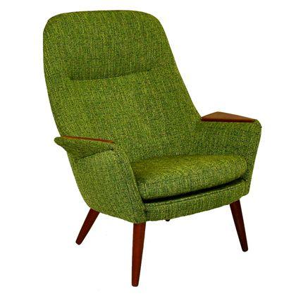 green danish modern high back armchair