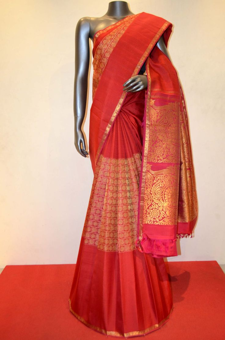 Wedding Red Kanjeevaram Silk With Traditional Classic Zari Buttas Product Code: AB212927 Online Shopping: http://www.janardhanasilk.com/index.php?route=product/product&search=AB212927&description=true&product_id=4386