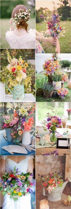 50 + Wildflowers Wedding Ideas for Rustic / Boho Weddings | http://www.deerpearlflowers.com/wildflowers-wedding-ideas-for-rustic-boho-weddings/