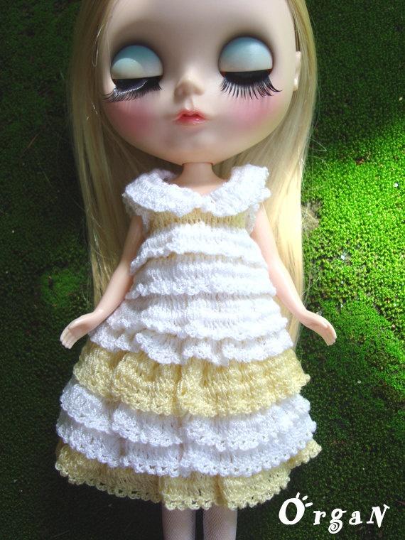 OOAKRufflE Milky yellow Crochet Dress  1pc by organ111 on Etsy, $15.00