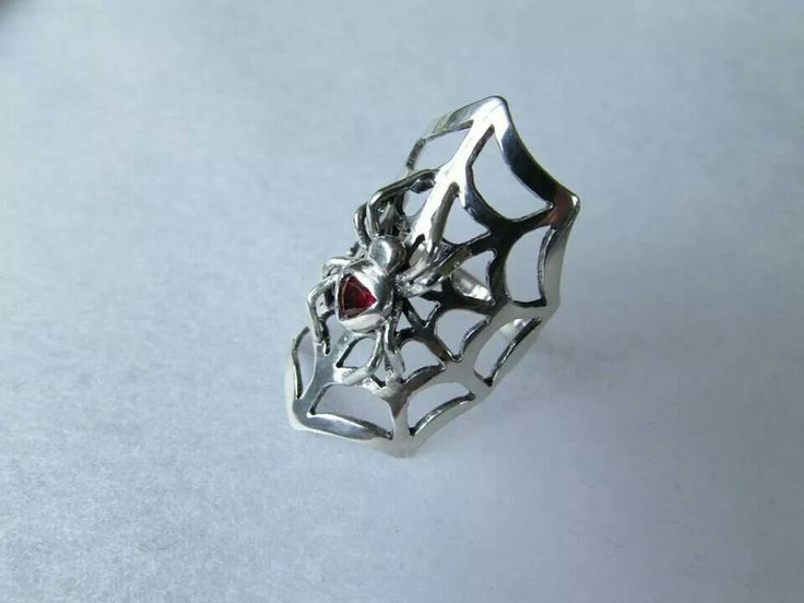 Spider Ring ( sterling silver & garnet )