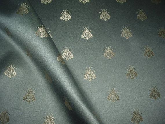 One Yard French Blue Napoleon Bee Damask Fabric Etsy French