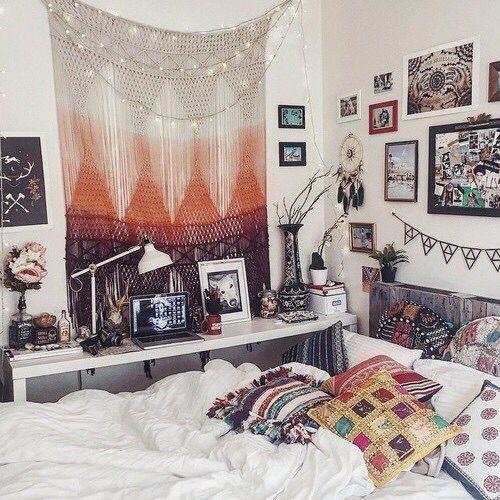 chambre à coucher, bohème, boho, d'une façon chic, savon, décor, décors, hippie, chambre, Tumblr, blanc