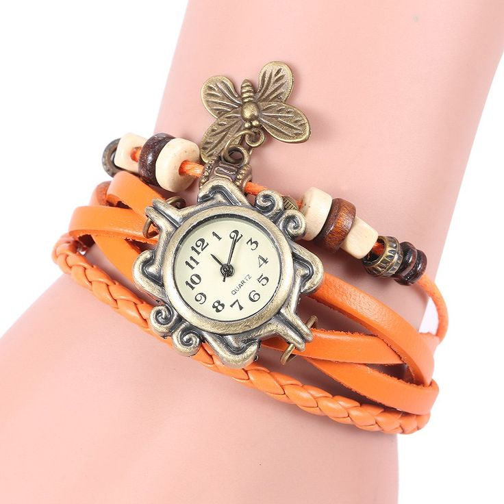 Retro Quartz Watch with Butterfly Round Dial and Knitting Leather Watch Band for Women #women, #men, #hats, #watches, #belts, #fashion, #style