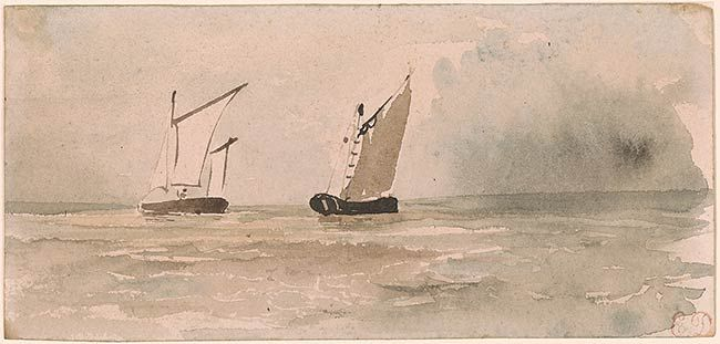 Eugène Delacroix | Two Sailboats | Drawings Online | The Morgan Library & Museum