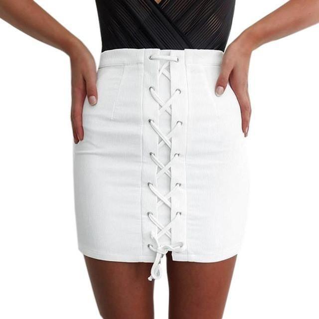 Women Skirts Fashion High Waist Skirt White