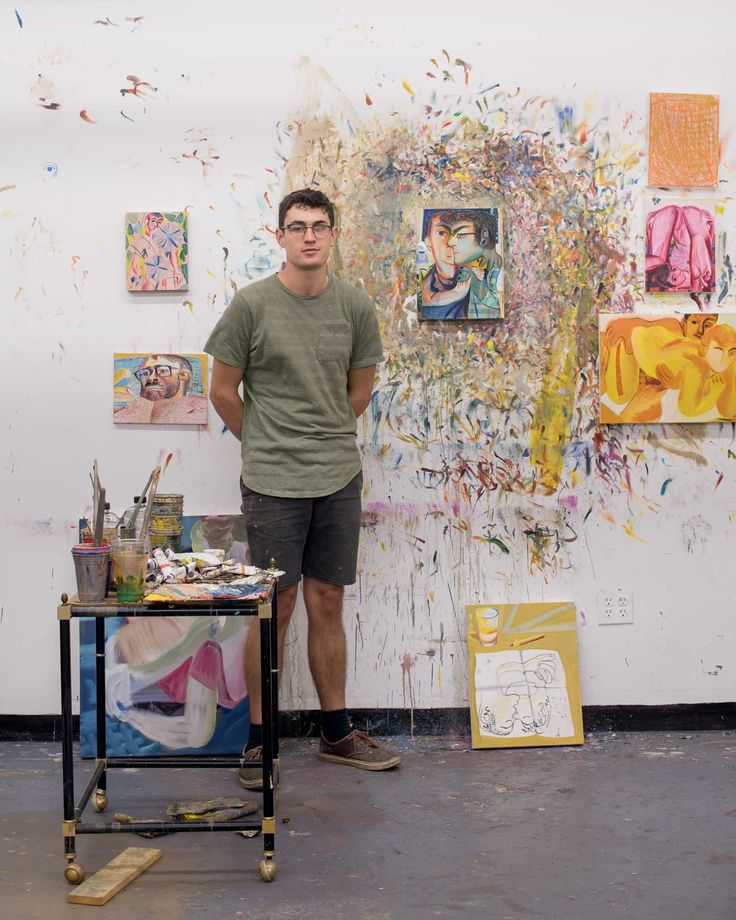 Louis in his studio. Photo: Ian Hartsoe Louis Fratino's Long Island City studio is part of the Artha Project artist residency program. Artist Workspace, Residency Programs, Long Island City, Studio City, Small Paintings, Gay Art, Artist At Work, Contemporary Artists, Painting Inspiration