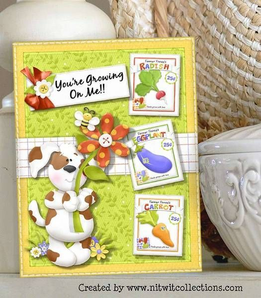 """Cute puppy dog gardening card. Just don't let him in the garden during planting because his """"help"""" is not wanted. FQB - Finncy's Garden Collection from Nitwit Collections™"""