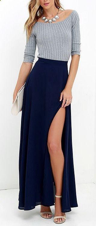 Seaside Soiree Navy Blue Maxi Skirt