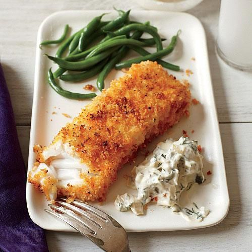 Crispy Fish with Lemon-Dill Sauce | What we love about this recipe is that you don't even need to pan-fry the fillets; they get breaded and go right under the broiler. | Cooking Light