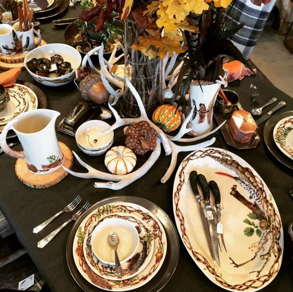 Our Forest Walk Collection is handsomely set for a Thanksgiving feast in our Juliska flagship store among found forest elements.