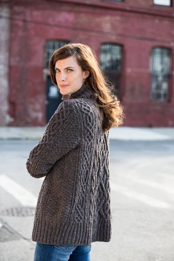 Image of Rowe- Brooklyn Tweed cabled sweater coat pattern $7 download size 8 needles