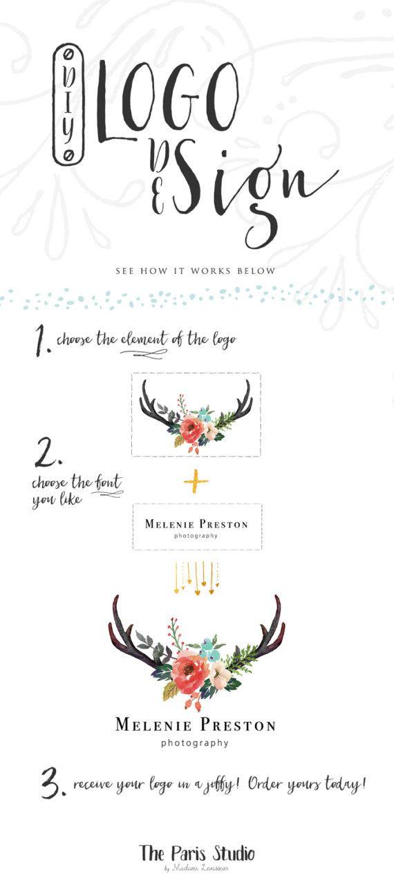 Custom Logo Design Business Branding Watercolor Floral Logo Design Website Logo Blog Logo Vintage Logo Wedding Monogram Logo Pay As You Go