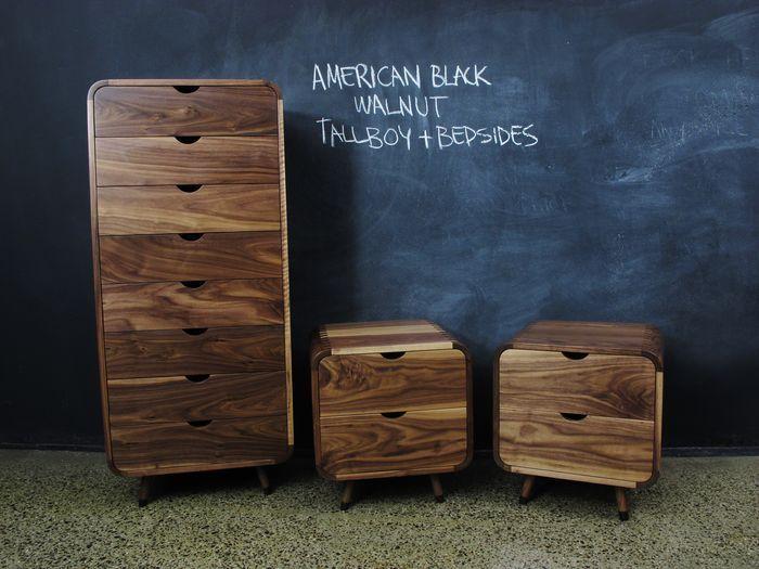 Curved American Walnut Tallboy, Home Furniture   Tall Boys U0026 Dressers    Tall Boys