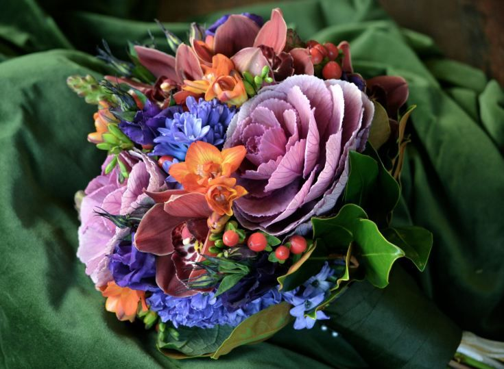 Kale, freesia and hyacinth for a seasonal winter delight