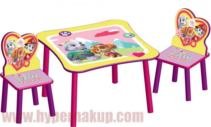 Detský stôl so stoličkami ružový Disney PAW PATROL