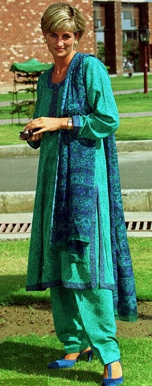 Princess Diana arriving at Lahore Hospital for a visit in 1997