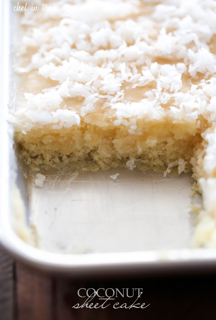 In this coconut texas sheet cake, hot frosting melts into the warm cake, infusing a tropical, flavor in every bite.