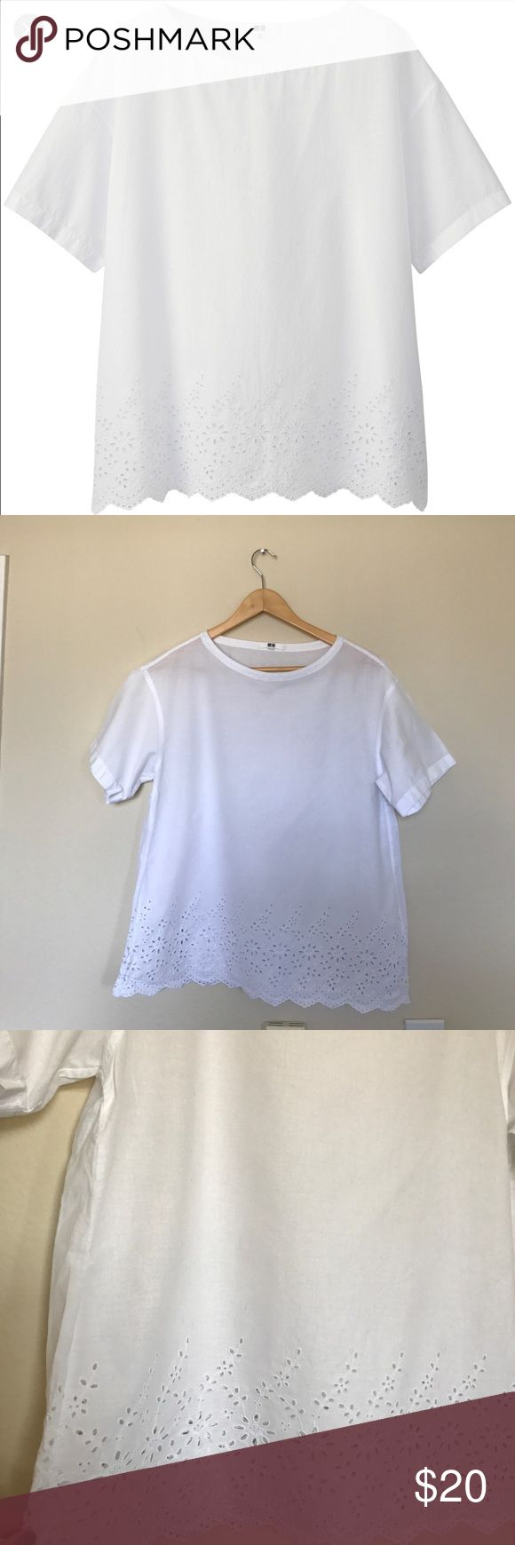 Uniqlo Eyelet White Short Sleeve Shirt Uniqlo Eyelet White Short Sleeve Shirt. Size small. In excellent condition with no signs of wear. Lightweight, oversized fit. 100% cotton. Bundle to save 20% Uniqlo Tops Tees - Short Sleeve