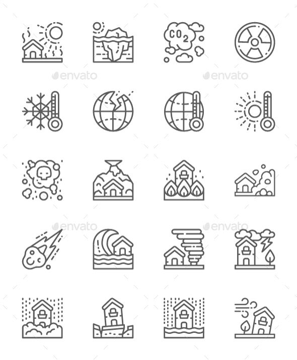 Set Of Natural Disaster Line Icons  Pack Of 64x64 Pixel