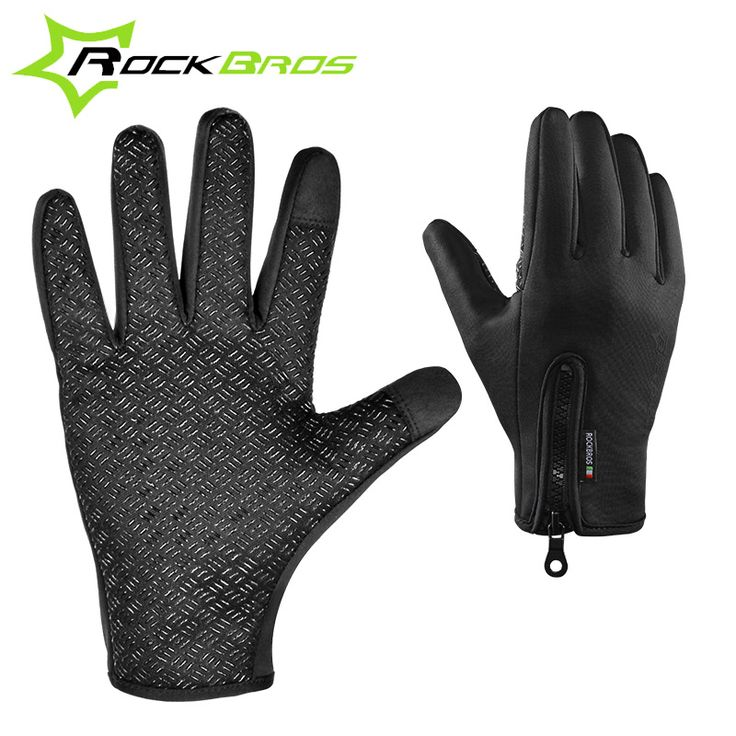 ROCKBROS Winter Fleece Thermal Warm Bike Sport Gloves Motorcycle Cycling Bicycle Gloves Full Finger Phone Screen Touch Gloves